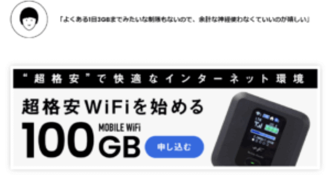 超格安Wi-Fi端末と100GB表示画像